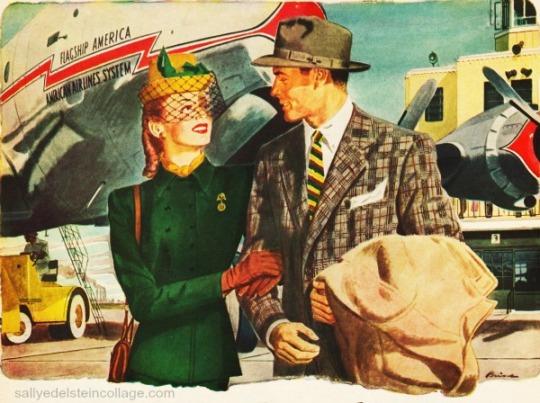 vintage illustration ad sirplane couple 1940s