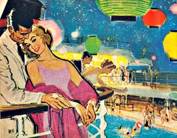 travel couple on cruise illustration 1950s