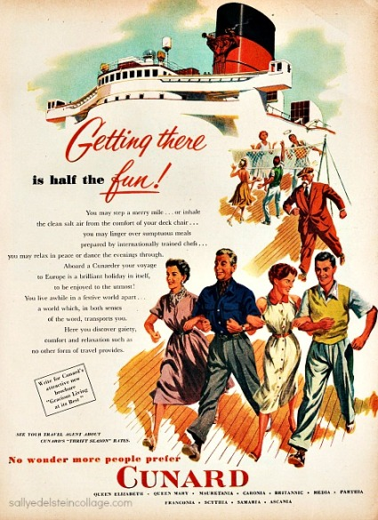 travel cruises cunard vintage ad 1950s