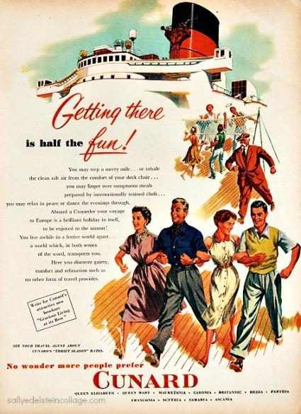 travel cruises cunard vintage ad 1950s