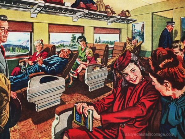 travel RR Pullman vintage illustration people on train