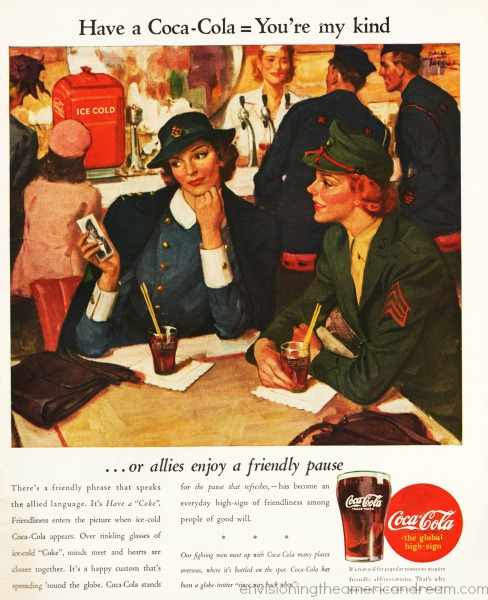 WWII Coke  ad illustration female soldiers 1940s