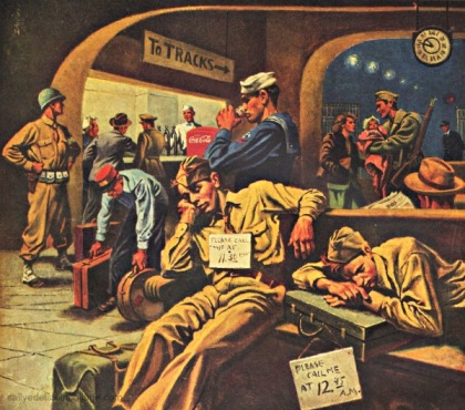 WWII Coke ad soldiers waiting for train illustration