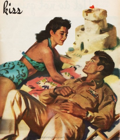 WWII Illustration soldier and girl at beach