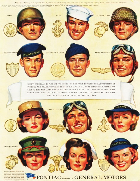 WWII ad pontiac servicemen and women illustration