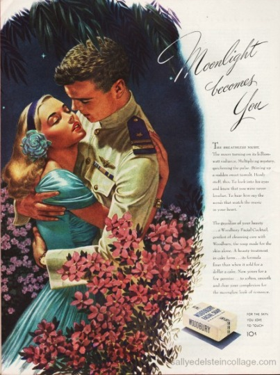 WWII Soap Woodbury ad illustration girl kissing soldier