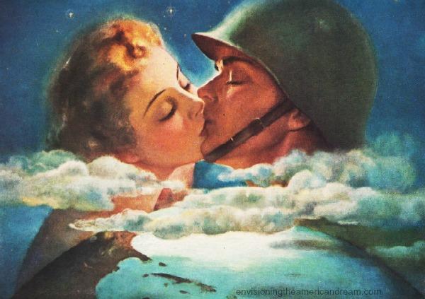 WWII vintage illustration soldier kissing girl 1940s