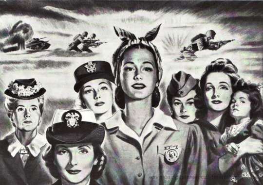WWII Women war work illustration