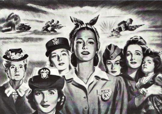 WWII Women war work illustration