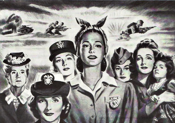 WWII Vintage illustration American Women war workers
