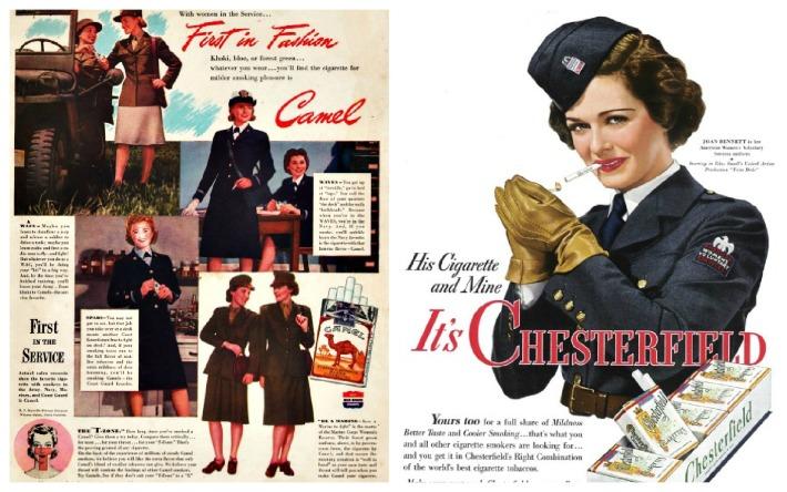 WWII Women soldiers  ads smoking