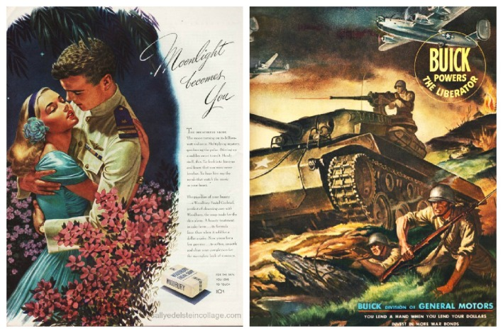 WWII  vintage ads, romance, soldiers illustration
