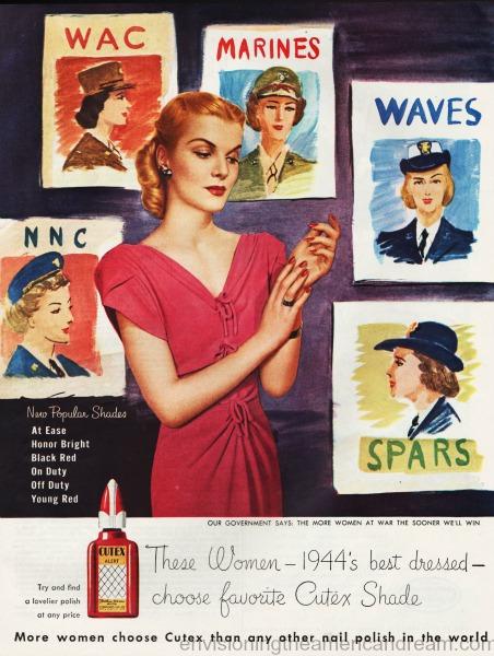 WWII Women military illustration Cutex ad