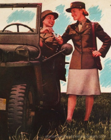WWII Women soldiers ad jeep