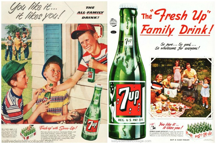 beverages 7up ads family kids 1950s