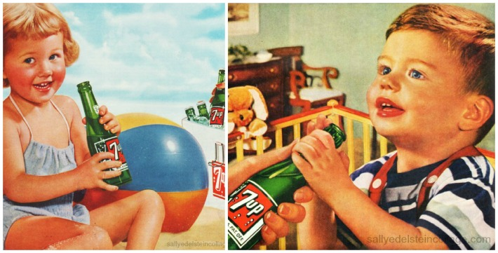 Beverages 7up kids vintage ad