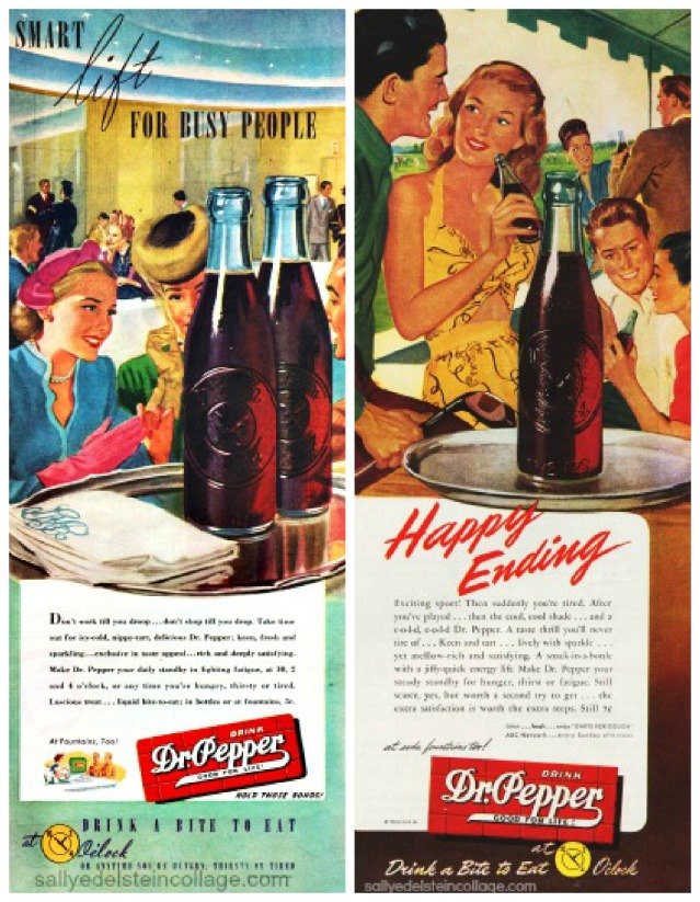 beverages dr pepper ads illustration 1940s