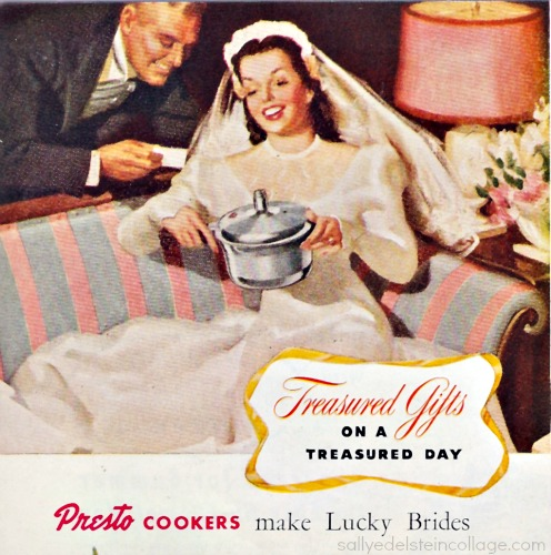 vintage illustration Bride presto cooker