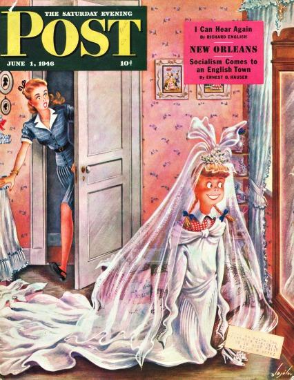 Brides vintage illustration Saturday  Evening Post Cover