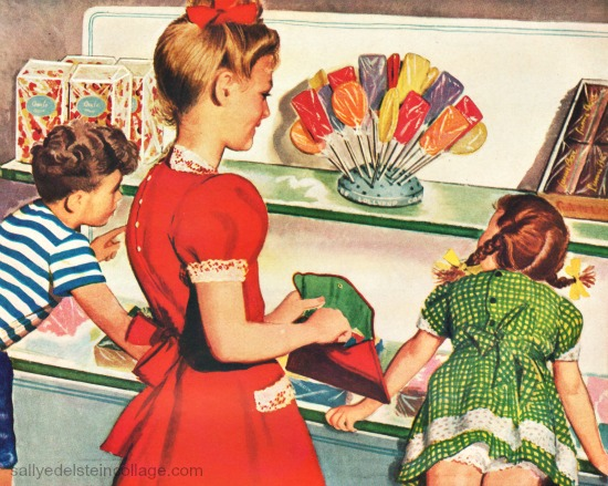 candy illustration 1940s kids