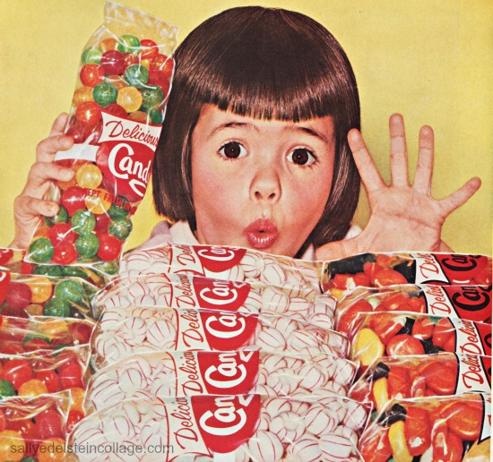 vintage photo candy and girl 1950s