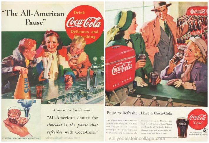 Coke soda fountain ads 1940s
