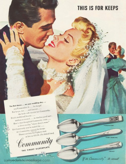 Vintage Ad Community Silver  1946 illustration by  Jon Whitcomb