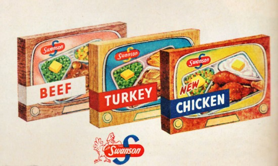food swanson TV dinner boxes 1955