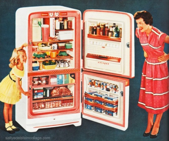 Kitchen Refrigerator 1950s mother daughter