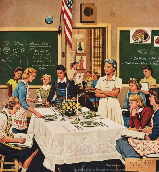 vintage illustration Sat Eve Post  high school home economics class