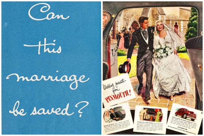 Vintage ad birde and groom wedding marriage
