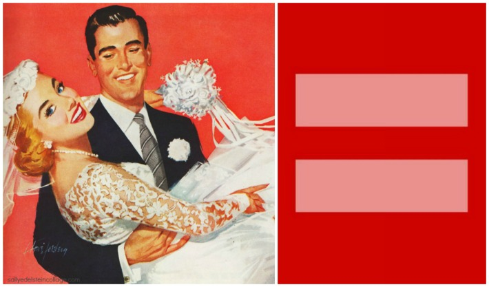 Marriage Equality illustration bride and groom 1950s