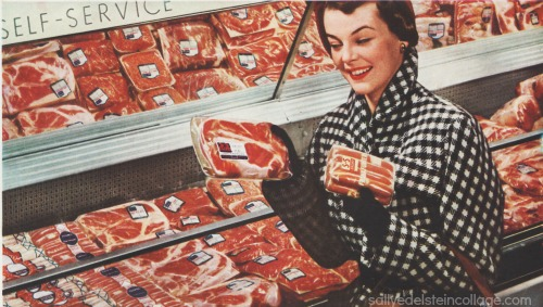 1950s housewife supermarket shopping packaged meats