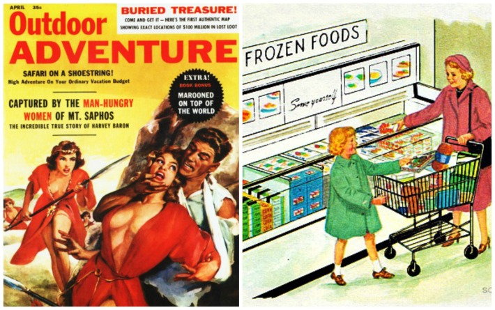 pulp outdoor adventure frozen food illustration