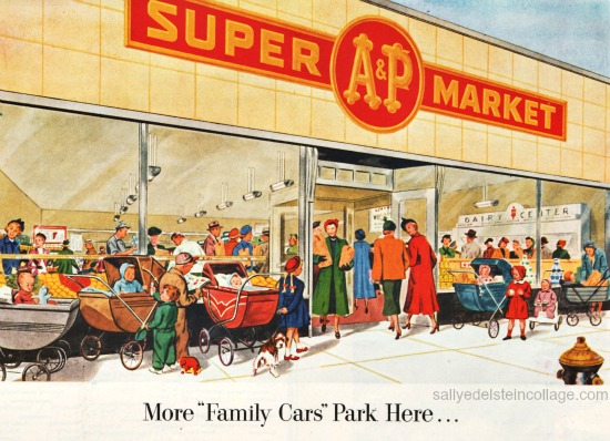 illustration supermarket shopping A&P 1950s