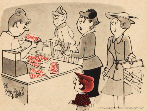 shopping cartoon 1950s