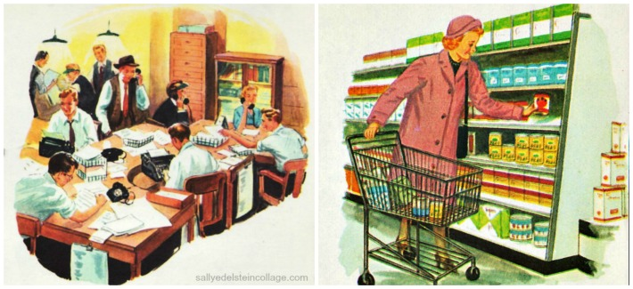 shopping newspaper childrens schoolbook illustration 1950s
