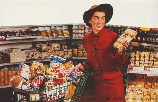1950s housewife grocery shopping shopping cart