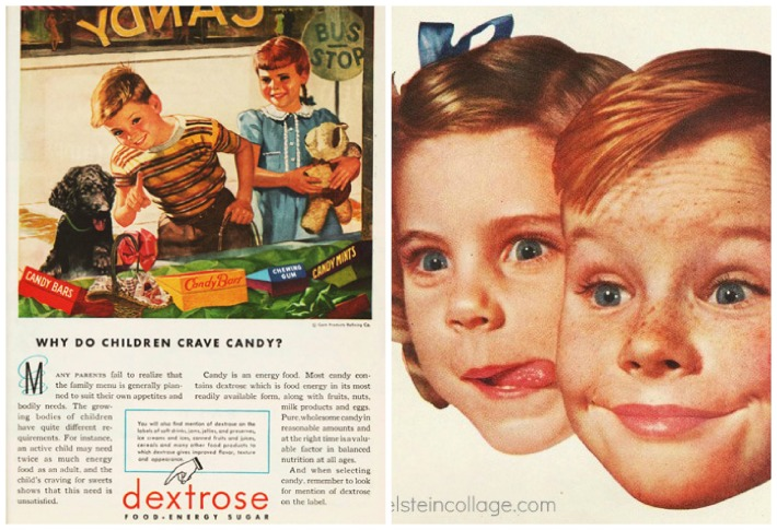 sugar dextrose candy children ads 1950s