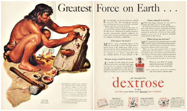 sugar dextrose ad cave man illustration