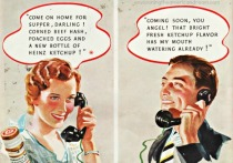 1930 illustration men women phone