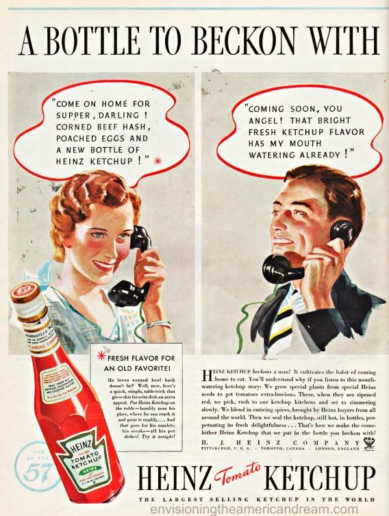 1934 Food Heinz Ketchup ad illustration man and woman