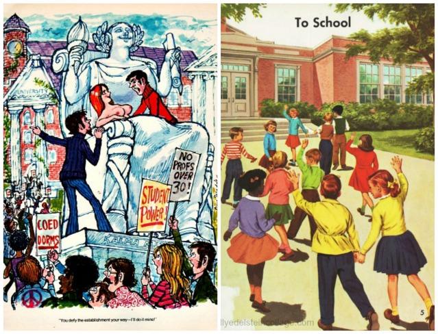 1960s playboy cartoon college unrest vintage childrens school books illustration