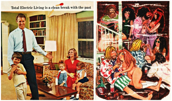 1960s family vintage ad vintage Playboy cartoon 1960s
