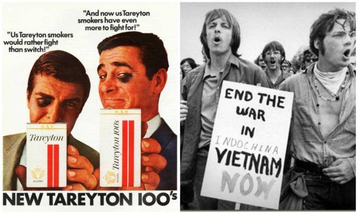1967 Protesting War vintage cigarette ad