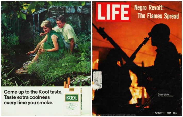 1967 Smoking ad Life Magazine cover 1967 Black Riots
