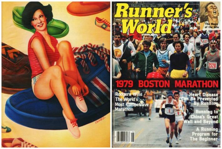 Boston Marathon 1979 magazine vintage illustration girl sneakers