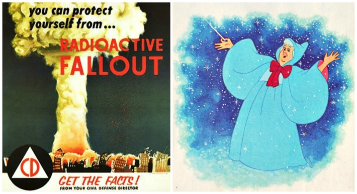 Civil Defense Fallout poster 1950s Fairy Godmother illustration
