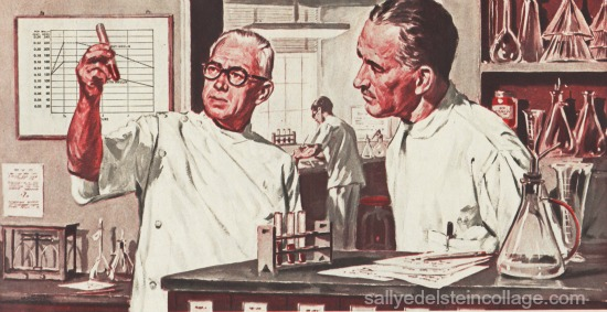 Doctors in lab vintage illustration 1950s