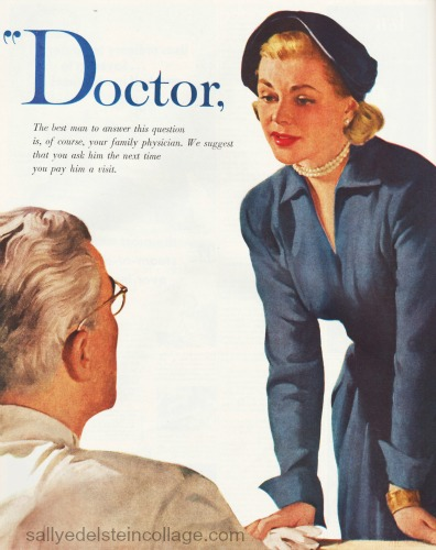 vintage illustration doctor woman 1950s